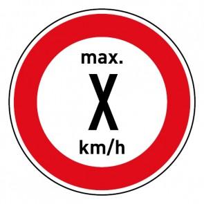 Schild · Geschwindigkeitszeichen Tempolimit max. Wunschziffer km/h