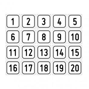 """Aufkleber Zahlen-Set """"1-20"""""""