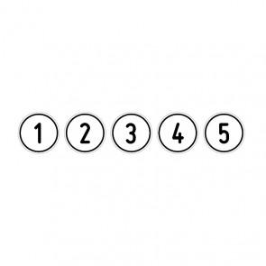 """Aufkleber Zahlen-Set """"1-5"""" rund"""