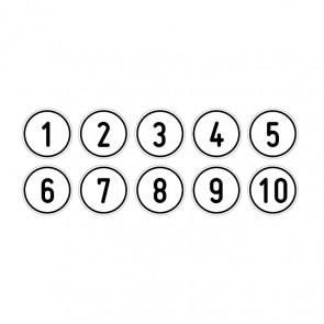 """Aufkleber Zahlen-Set """"1-10"""" rund"""