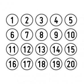 """Aufkleber Zahlen-Set """"1-20"""" rund"""