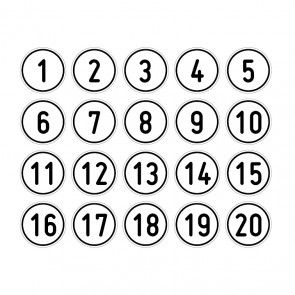 """Schilder Zahlen-Set """"1-20"""" · rund · Magnetschild - Magnetfolie"""