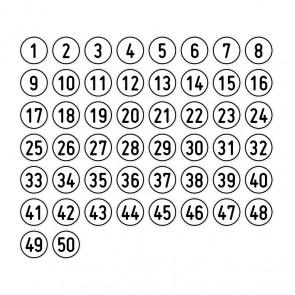 """Aufkleber Zahlen-Set """"1-50"""" rund"""