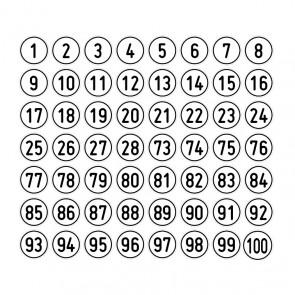"""Aufkleber Zahlen-Set """"1-100"""" rund"""