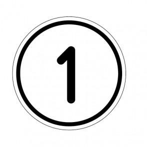 """Aufkleber Zahlen-Set """"1-1"""" rund"""