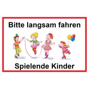 Schild Bitte langsam fahren · Spielende Kinder | Mod. 7