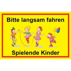 Schild Bitte langsam fahren · Spielende Kinder | Mod. 9
