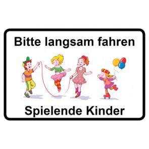 Schild Bitte langsam fahren · Spielende Kinder | Mod. 11