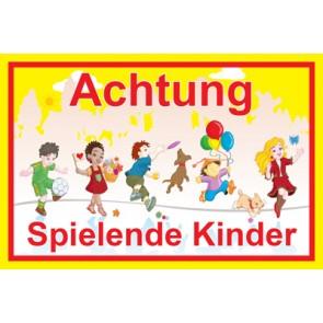 Magnetschild Achtung · Spielende Kinder | Mod. 15  (Magnetfolie)