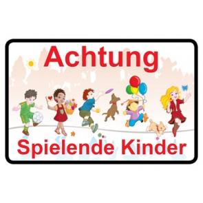 Magnetschild Achtung · Spielende Kinder | Mod. 17  (Magnetfolie)
