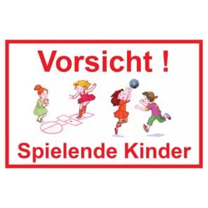 Magnetschild Vorsicht · Spielende Kinder | Mod. 19  (Magnetfolie)