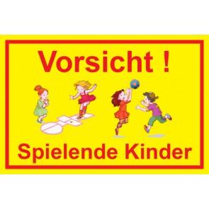Magnetschild Vorsicht · Spielende Kinder | Mod. 21  (Magnetfolie)