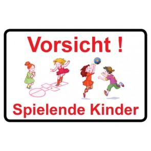 Magnetschild Vorsicht · Spielende Kinder | Mod. 23  (Magnetfolie)