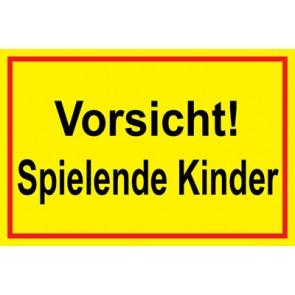 Magnetschild Vorsicht · Spielende Kinder | Mod. 27  (Magnetfolie)