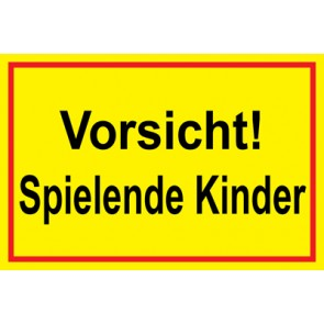 Magnetschild Vorsicht · Spielende Kinder   Mod. 27  (Magnetfolie)
