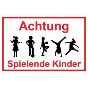 Magnetschild Achtung Spielende Kinder | Mod. 31  (Magnetfolie)