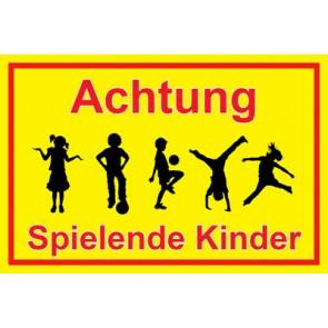 Magnetschild Achtung Spielende Kinder   Mod. 33  (Magnetfolie)