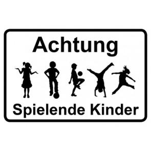 Magnetschild Achtung Spielende Kinder | Mod. 35  (Magnetfolie)