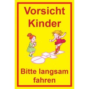 Magnetschild Achtung Spielende Kinder | Mod. 115  (Magnetfolie)