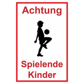Magnetschild Achtung Spielende Kinder | Mod. 119  (Magnetfolie)