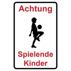 Magnetschild Achtung Spielende Kinder | Mod. 123  (Magnetfolie)