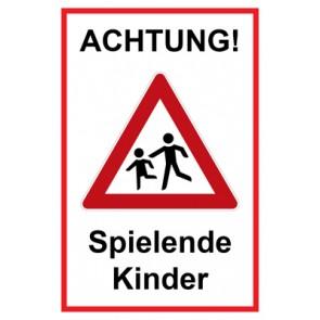 Magnetschild Achtung Spielende Kinder | Mod. 125  (Magnetfolie)