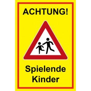 Magnetschild Achtung Spielende Kinder | Mod. 127  (Magnetfolie)