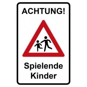 Magnetschild Achtung Spielende Kinder | Mod. 129  (Magnetfolie)
