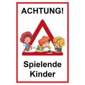 Magnetschild Achtung Spielende Kinder | Mod. 131  (Magnetfolie)