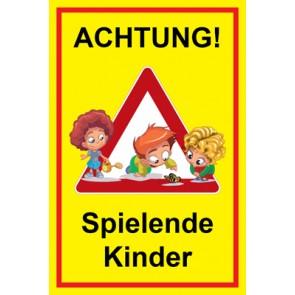 Magnetschild Achtung Spielende Kinder | Mod. 133  (Magnetfolie)