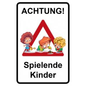 Magnetschild Achtung Spielende Kinder | Mod. 135  (Magnetfolie)