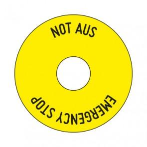 Aufkleber NOT AUS rund 50 mm · 65 mm · 80 mm | gelb · schwarz