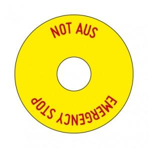 Aufkleber NOT AUS rund 50 mm · 65 mm · 80 mm | gelb · rot