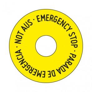 Aufkleber NOT AUS rund 50 mm · 65 mm · 80 mm | gelb · schwarz | 3 sprachig