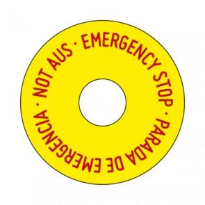 Aufkleber Not Aus rund 50 mm · 65 mm · 80 mm | gelb · rot | 3 sprachig