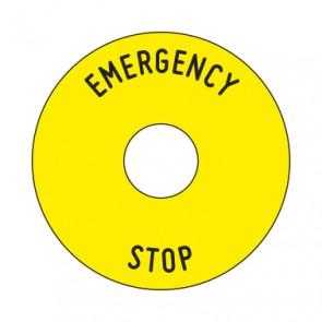 Aufkleber Emergency STOP rund 50 mm · 65 mm · 80 mm | gelb · schwarz