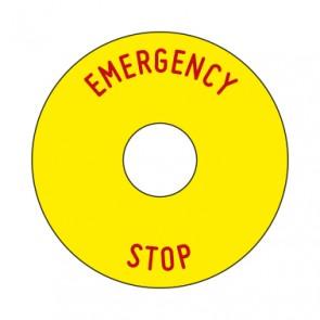Aufkleber Emergency STOP rund 50 mm · 65 mm · 80 mm | gelb · rot