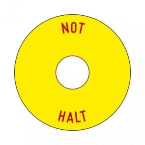 Aufkleber NOT HALT rund 50 mm · 65 mm · 80 mm | gelb · rot