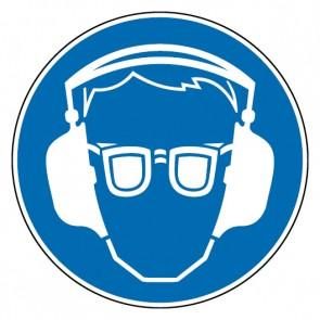 Aufkleber Gebotszeichen Gehör- und Augenschutz benutzen | stark haftend