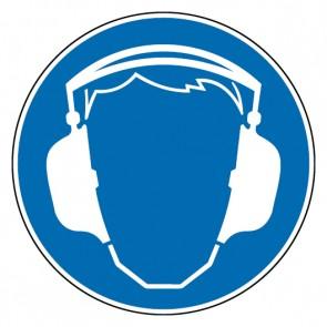 Fußbodenaufkleber Gebotszeichen Gehörschutz benutzen