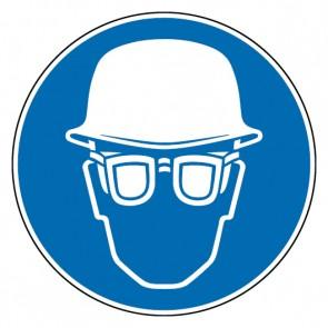 Fußbodenaufkleber Gebotszeichen Kopf- und Augenschutz benutzen