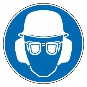 Fußbodenaufkleber Gebotszeichen Kopf-, Gehör- und Augenschutz benutzen