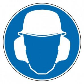 Fußbodenaufkleber Gebotszeichen Gehör- und Kopfschutz benutzen
