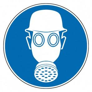Fußbodenaufkleber Gebotszeichen Kopf- und Atemschutz tragen