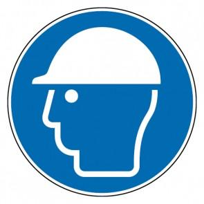 Fußbodenaufkleber Gebotszeichen Kopfschutz benutzen