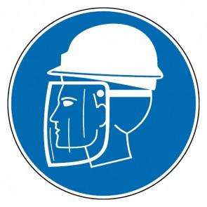 Gebotsschild Helm und Gesichtsschutz tragen