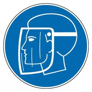 Gebotsschild Gesichtsschutz benutzen