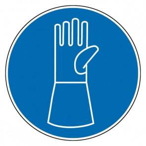 Gebotsschild Schutzhandschuhe mit Pulsschutz benutzen