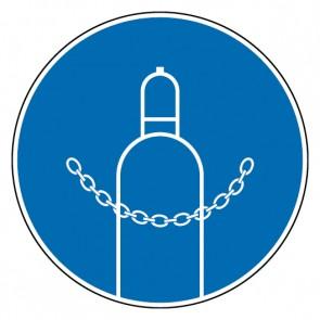 Gebotsschild Druckgasflasche durch Kette sichern