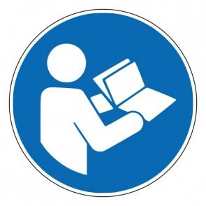 Aufkleber Gebotszeichen Gebrauchsanweisung beachten · ISO 7010 M002